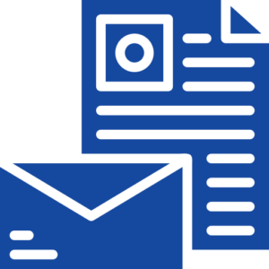 paper and envelope icon - blue