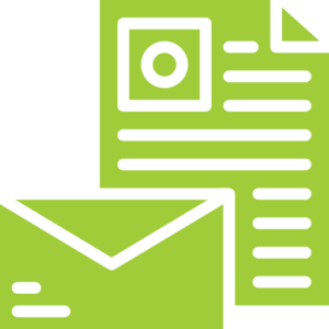 paper and envelope icon - green