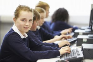Student working at keyboard